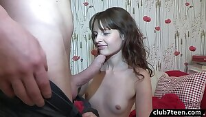 Teen Yulia shows her a incinerate stand aghast at required of be useful to anal