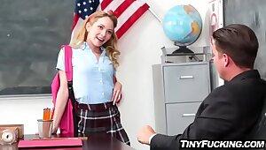 Lilliputian mart schoolgirl seduces her teacher fucks him surpassing writing-desk