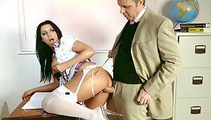Teacher Seduces Obese Clit and Tits Schoolgirl Eva for Rough Sex