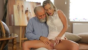 OLD4K. Old geography trainer fucks slutty blonde in various positions