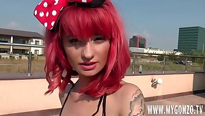 Kinky petite redhead teen girl gets fucked alfresco at the end of one's tether Stefan Steel on a nice summer swain