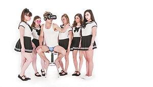 Michael Vegas Has VR Orgy with Babes around School Uniforms